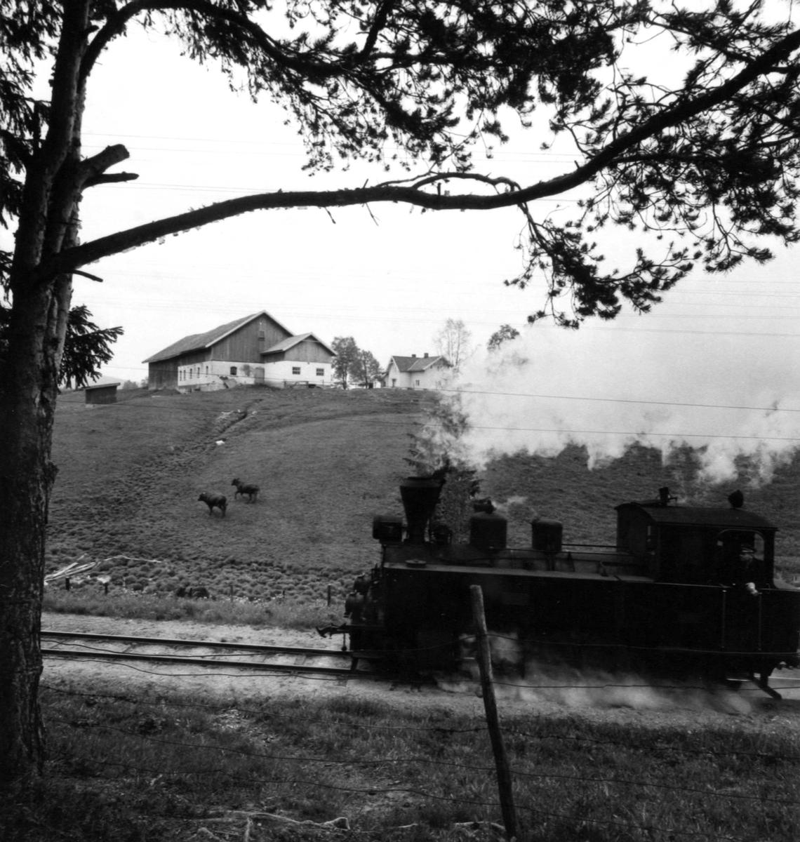 Tog 2051 til Skulerud på vei opp Sætrabakken.