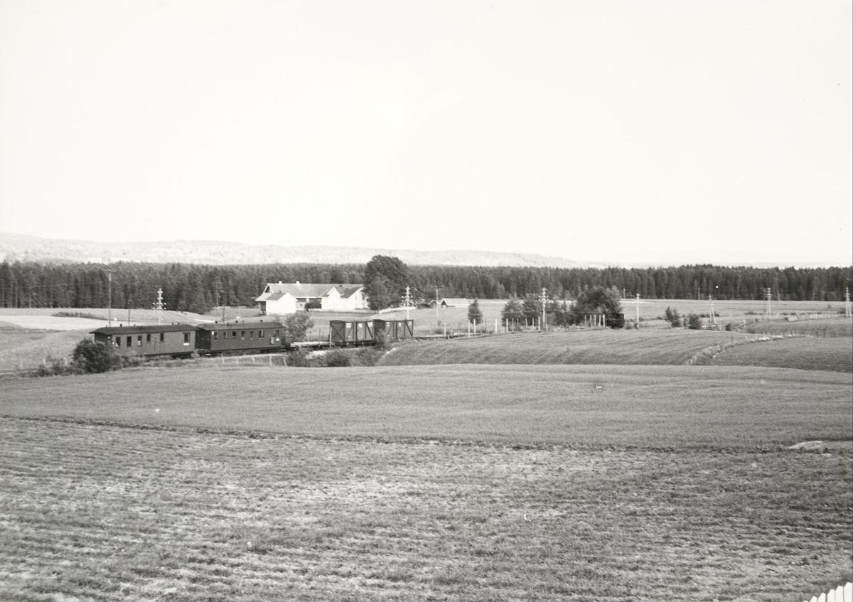 Ettermiddagstoget til Bjørkelangen mellom Kvevli og Mork.