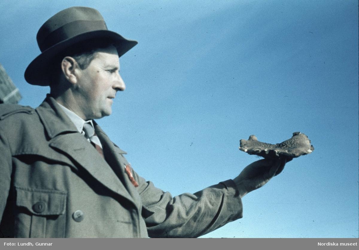 Svamputflykt med agronom Nils Suber som visar upp en svamp.