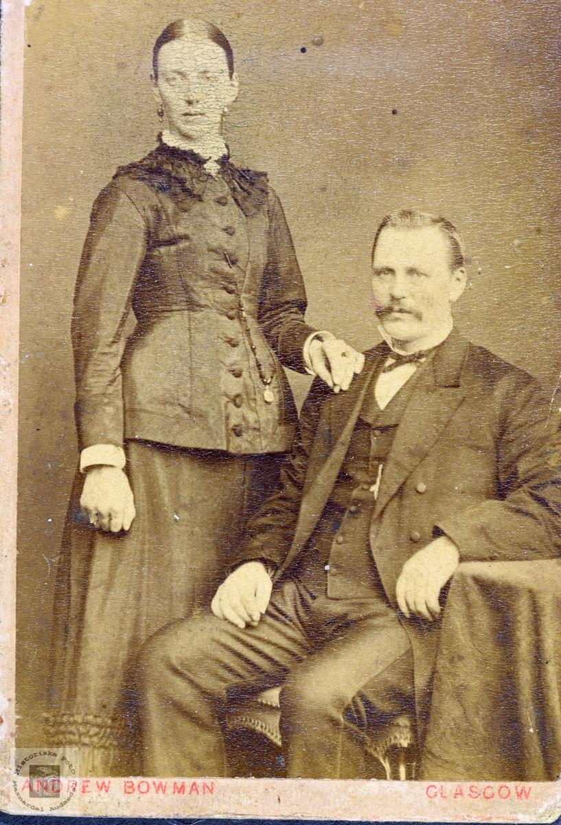 Portrett av ektepar muligens med tilknytning til Leland, Grindheim.