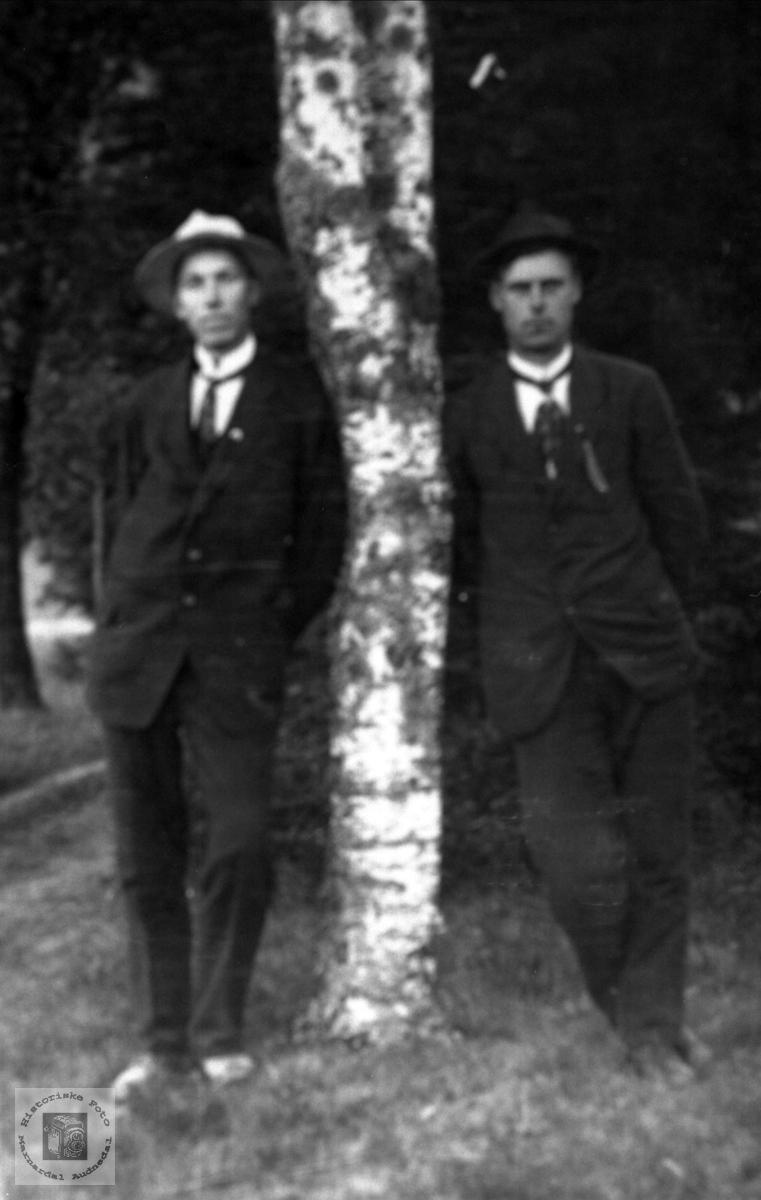 Portrett ved bjørka. Ole Sevrin Laudal og Arnt Fidja, Laudal.
