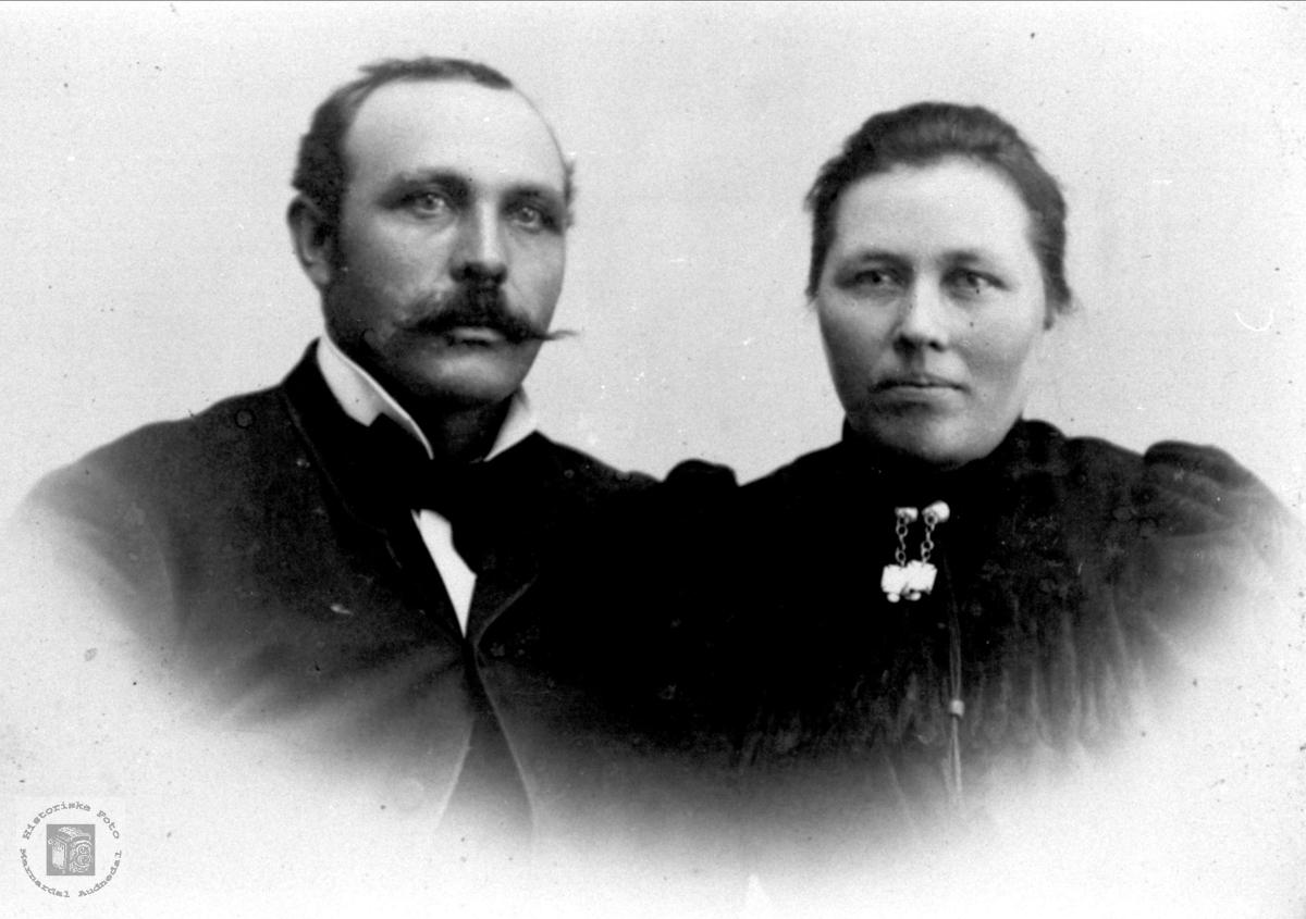 Dobbelportrett av ekteparet Ole og Gurine Sangesland, Laudal.