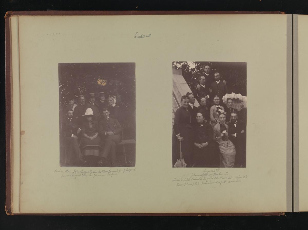 Albumside 19 av grågrønn kartong med to bilder: 1) gruppebilde 2) gruppebilde.