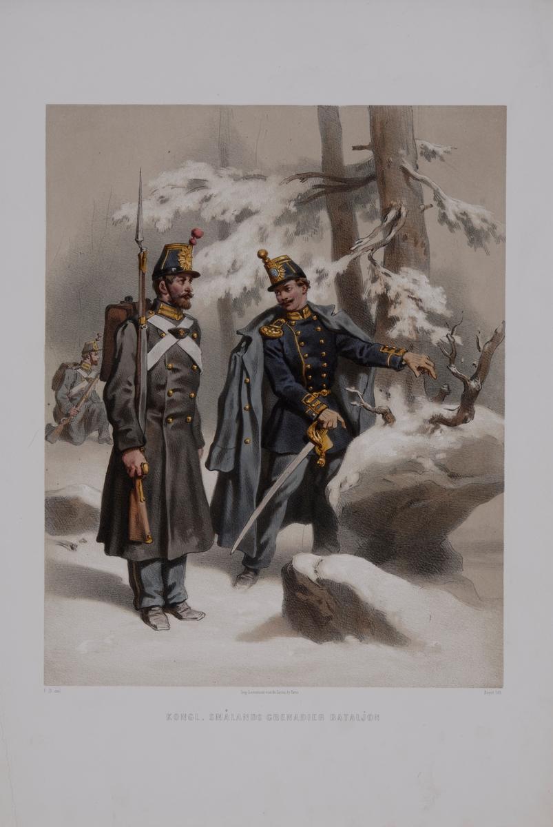 Plansch med uniform för Smålands grenadjärbataljon. Plansch i färgtryck efter original av Fritz von Dardel. Ingår i planschsamlingen Den svenska och norske armeens uniformer, 1861-1863.