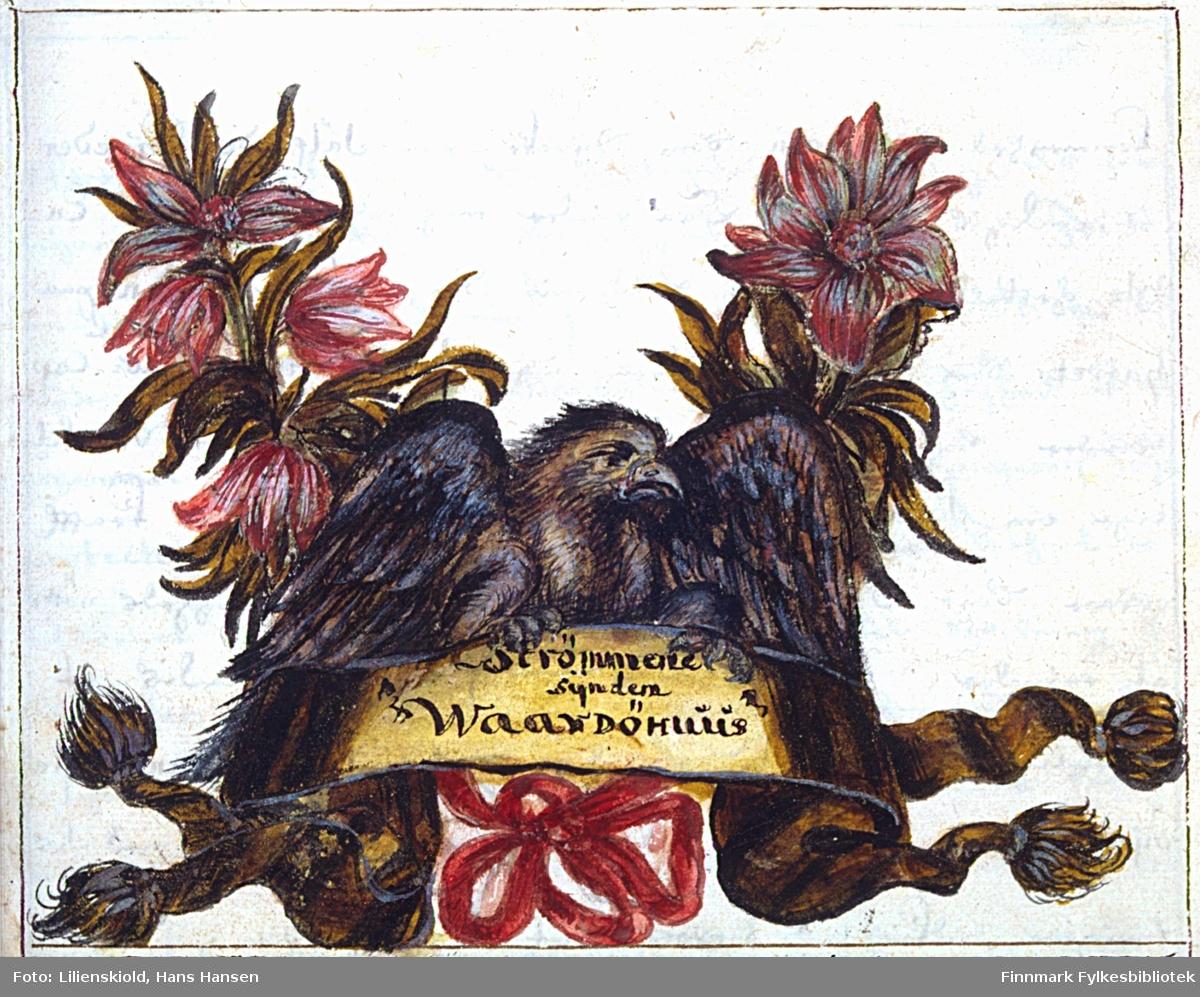 Ørn flankert av liljer holder et banner med teksten: Strømmene synden Waardhuus. Innledningsillustrasjon til kapittel om farvann og utenlandsk sjøtrafikk sør for Vardøhus i Finnmark