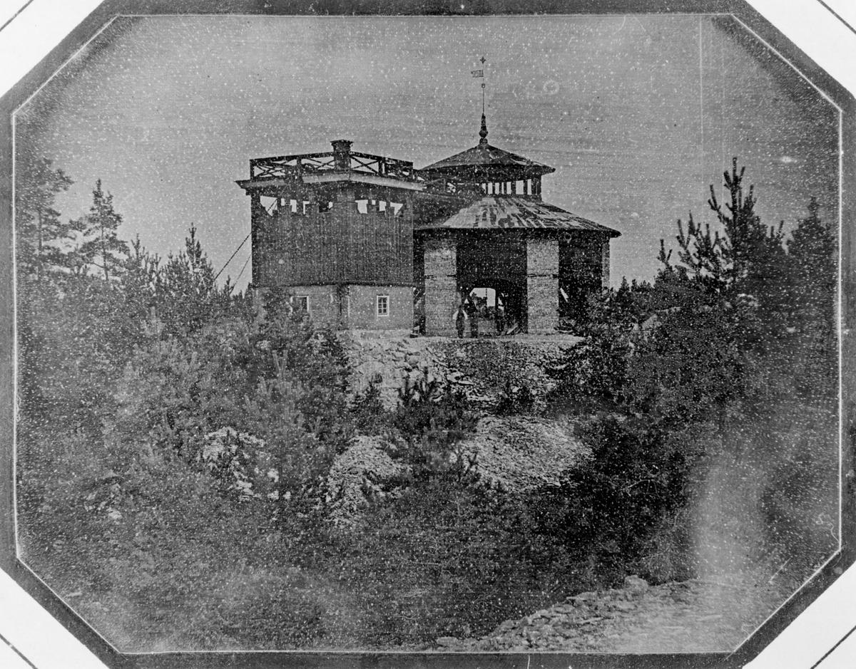 Daguerreotyp. Laven över Carl XI:s schakt från söder. Bilden tagen före tillkomsten av ångmaskinhuset.