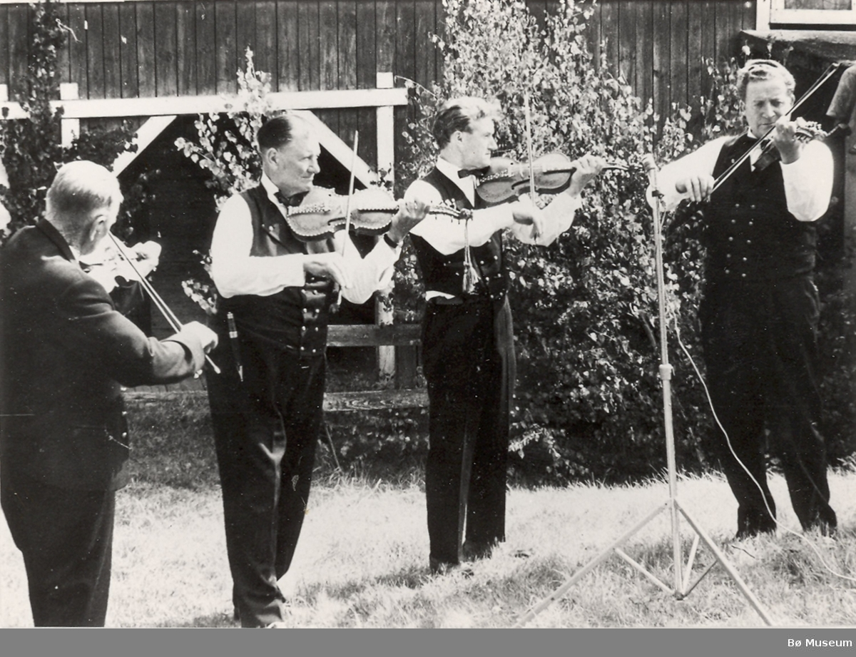 Spelemannslaget Bøheringen spelar ved tilstelling i 1969.