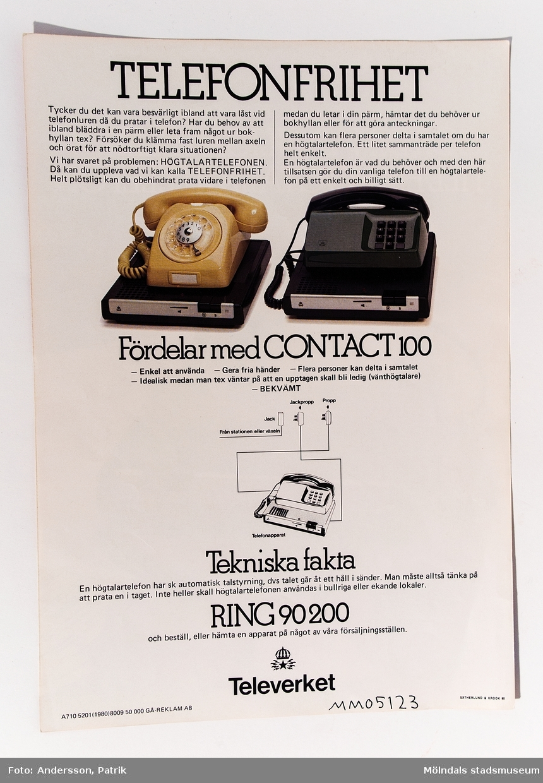 Reklamblad: Gör din vanliga telefon till en högtalartelefon Contact 100, utgivet av Televerket 1980. Gå-Reklam AB delade ut reklambladet.