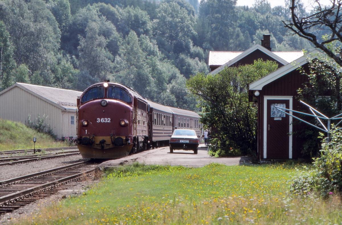 NSB persontog 281 Oslo S - Fagernes stopper på Hov stasjon. Di 3 632 trekker toget.