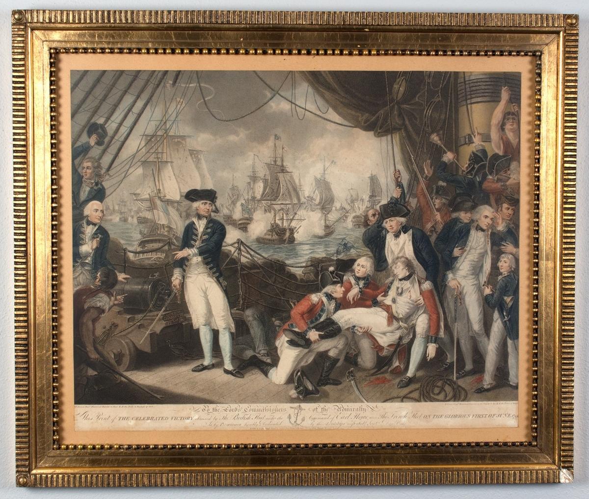 Slagscene sett ombord på det britiske orlogsskipet Queen Charlotte. Den slagne franske flåten i bakgrunnen.