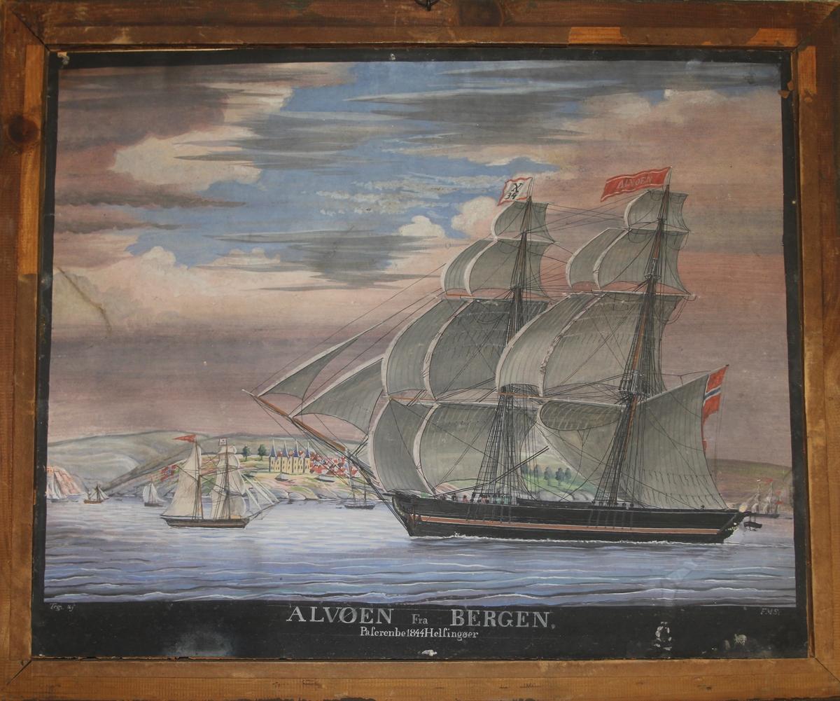Briggen ALVØEN sees paserende Helsingør i 1844.