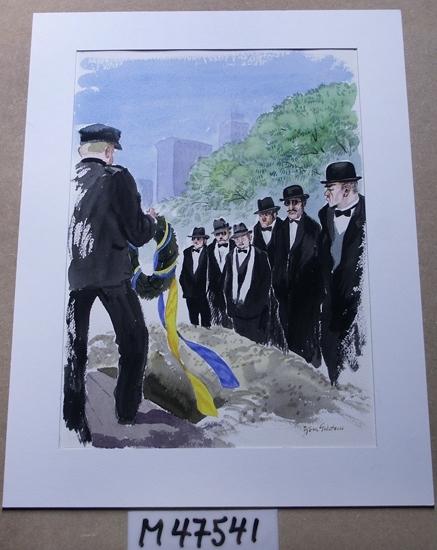 Akvarellmålning. Motivet föreställer en begravningsakt. Till vänster i bild står en svartklädd man med skärmmössa  hållande en krans med blågula girlander. Graven är öppen och till höger i bilden står sex män med bistra  ansikten. De är klädda i svarta kostymer med vita skjortor och hatt.