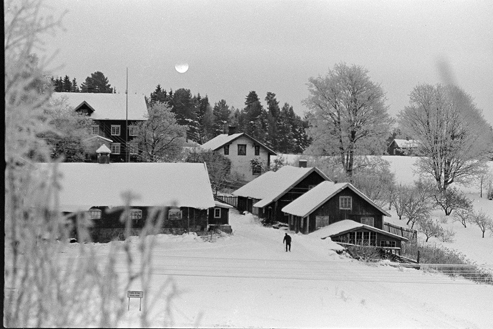 Alhaug, Alu østre, eksteriør, vinter, kveld, måne.