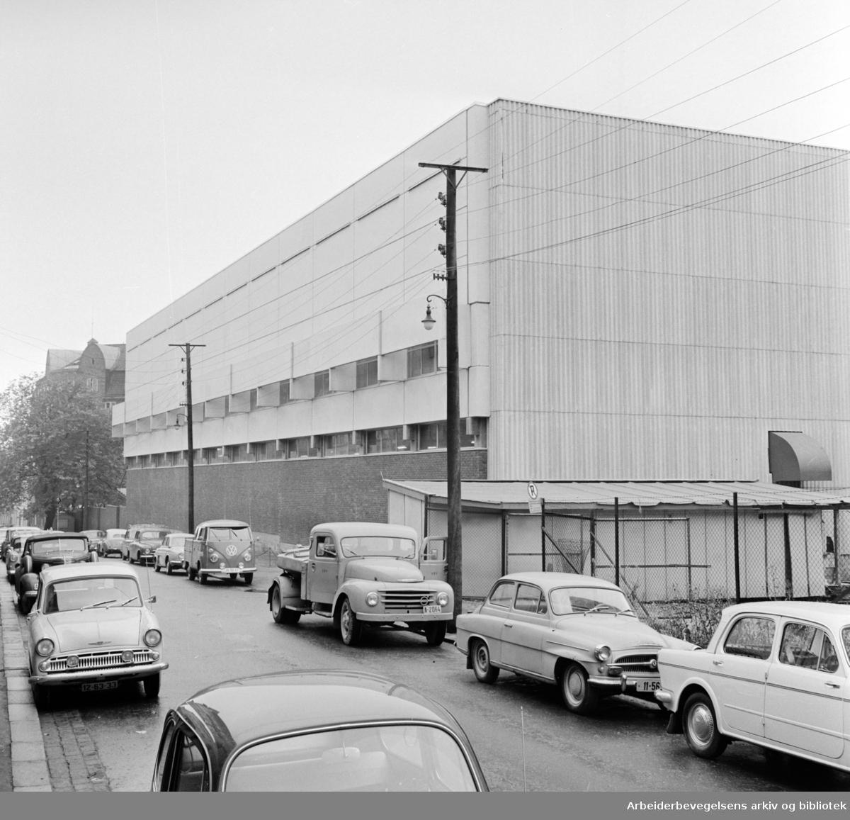 Rodeløkka. Freia-lageret er ferdig bygget. Oktober 1965