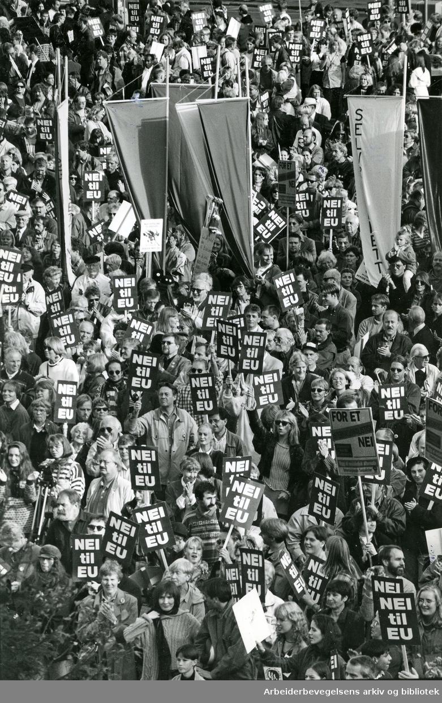 Nei til EU mobiliserer på Youngstorget. 25 september 1994.