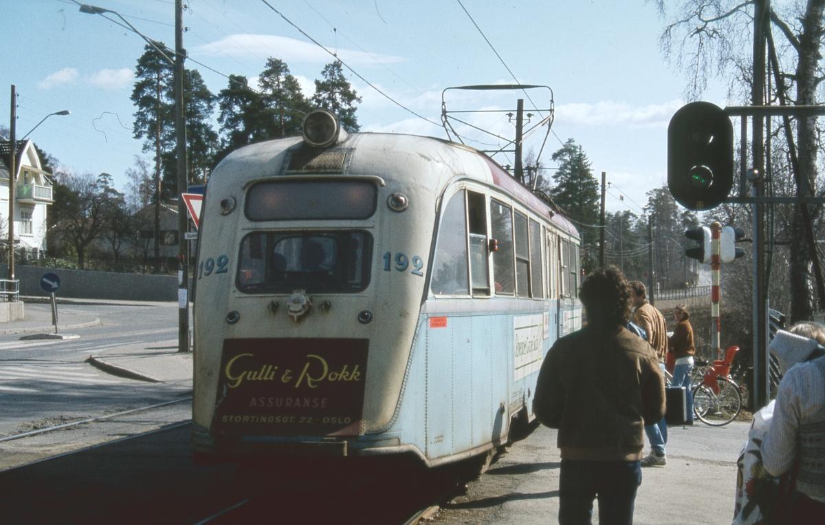 """""""Gullfisk"""" 192 ved Kastellet holdeplass på rute 9 Lilleaker-Ekebergbanen."""