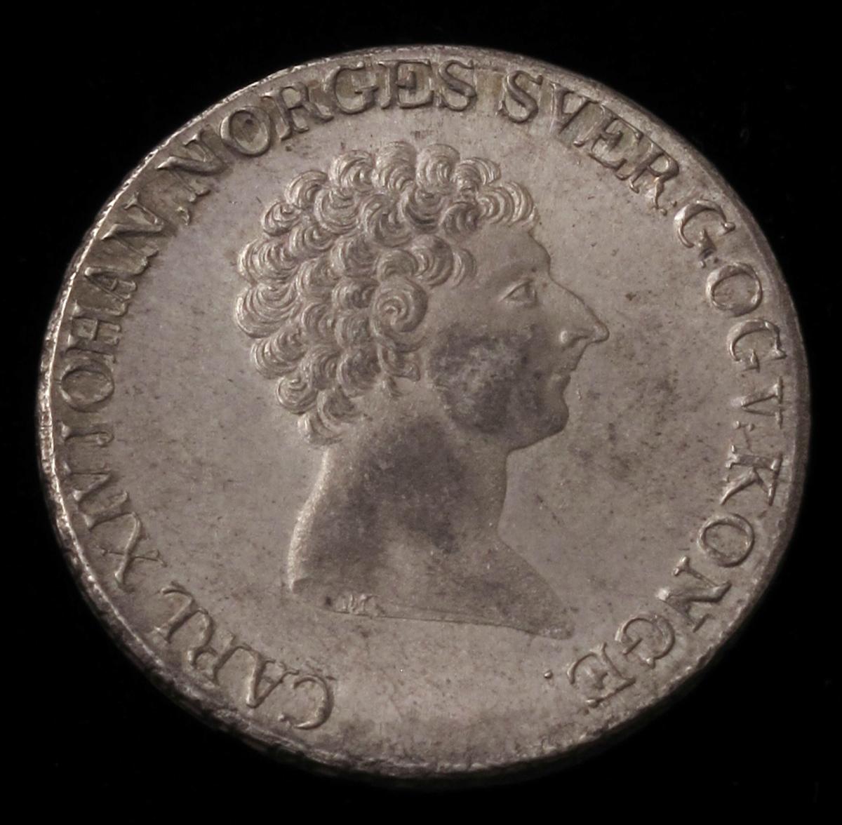 Adv.: Kongens hode i profil.  Rev.: Riksvåpenet.