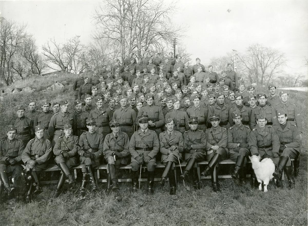 Grupporträtt av befäl och värnpliktiga vid Livregementet till häst K 1 på Drottningholm 1940.