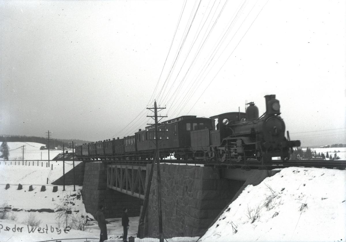 Persontog retning Lillestrøm på Hovedbanen ved Sagdalen. Lokomotivet er trolig Norsk Hovedjernbanes damplokomotiv type B nr. 8.