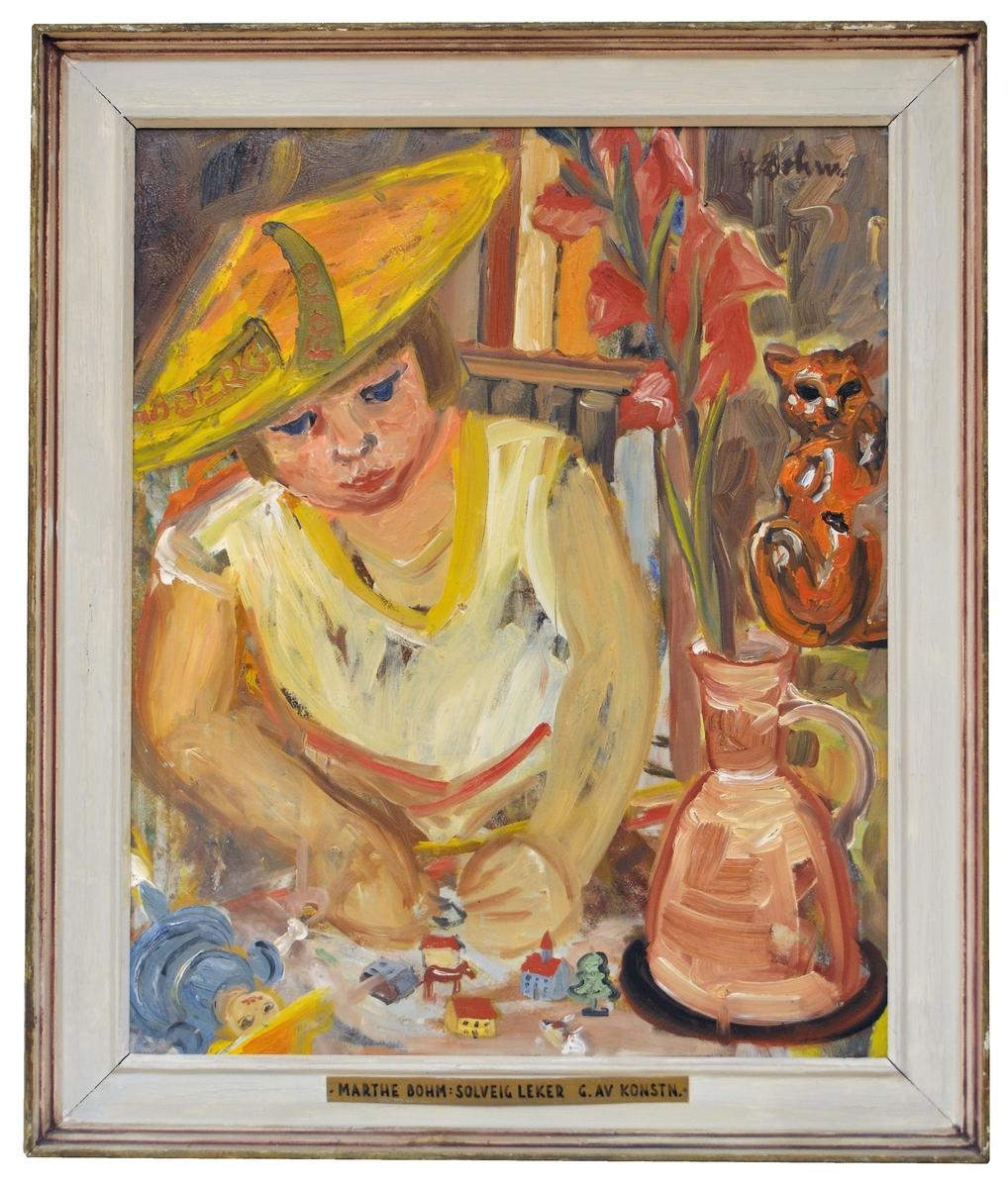 """Olja på duk, """"Solveig leker"""" av Marthe Bohm."""