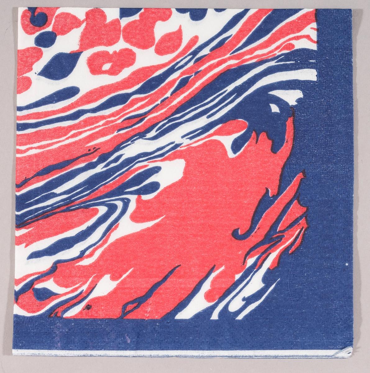 Et abstrakt motiv med fargene rødt, hvitt og blått.