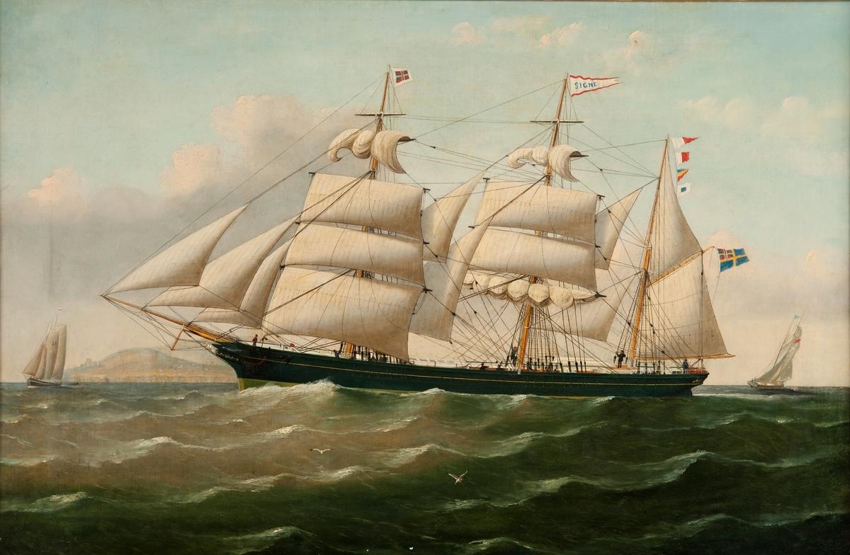 Marinmåleri, fartygsporträtt, olja på duk.