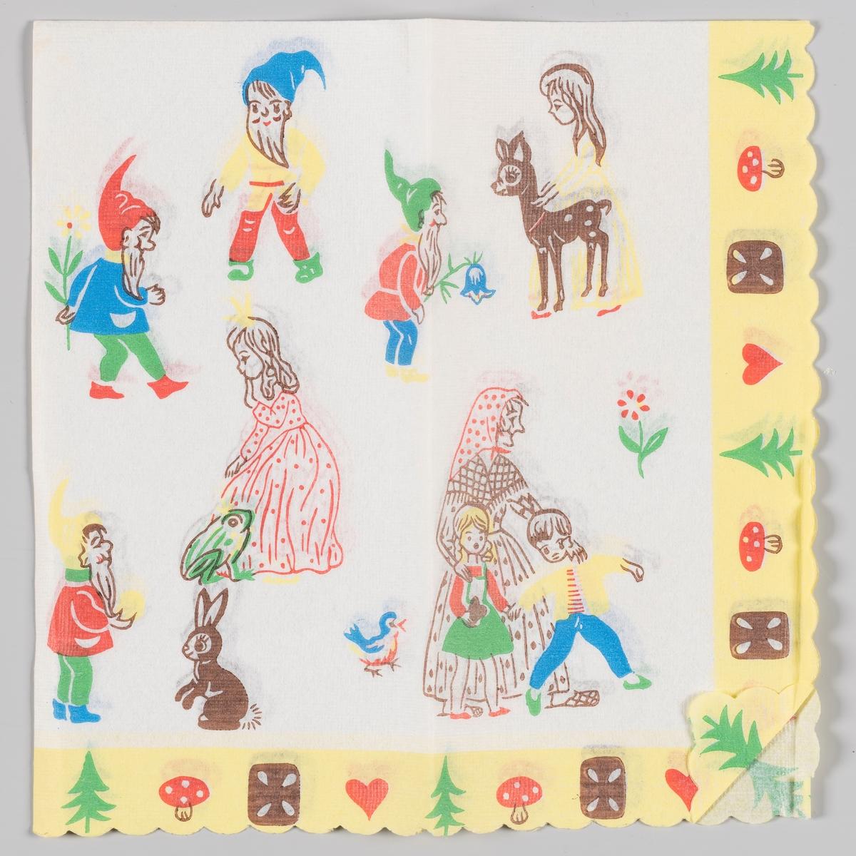 Scener fra eventyr. Snøhvite og dverger. Froskeprinsen og prinsessen. Hans, Grete og heksen. Gul bord langs kanten med trær, sopp, kaker og hjerter.