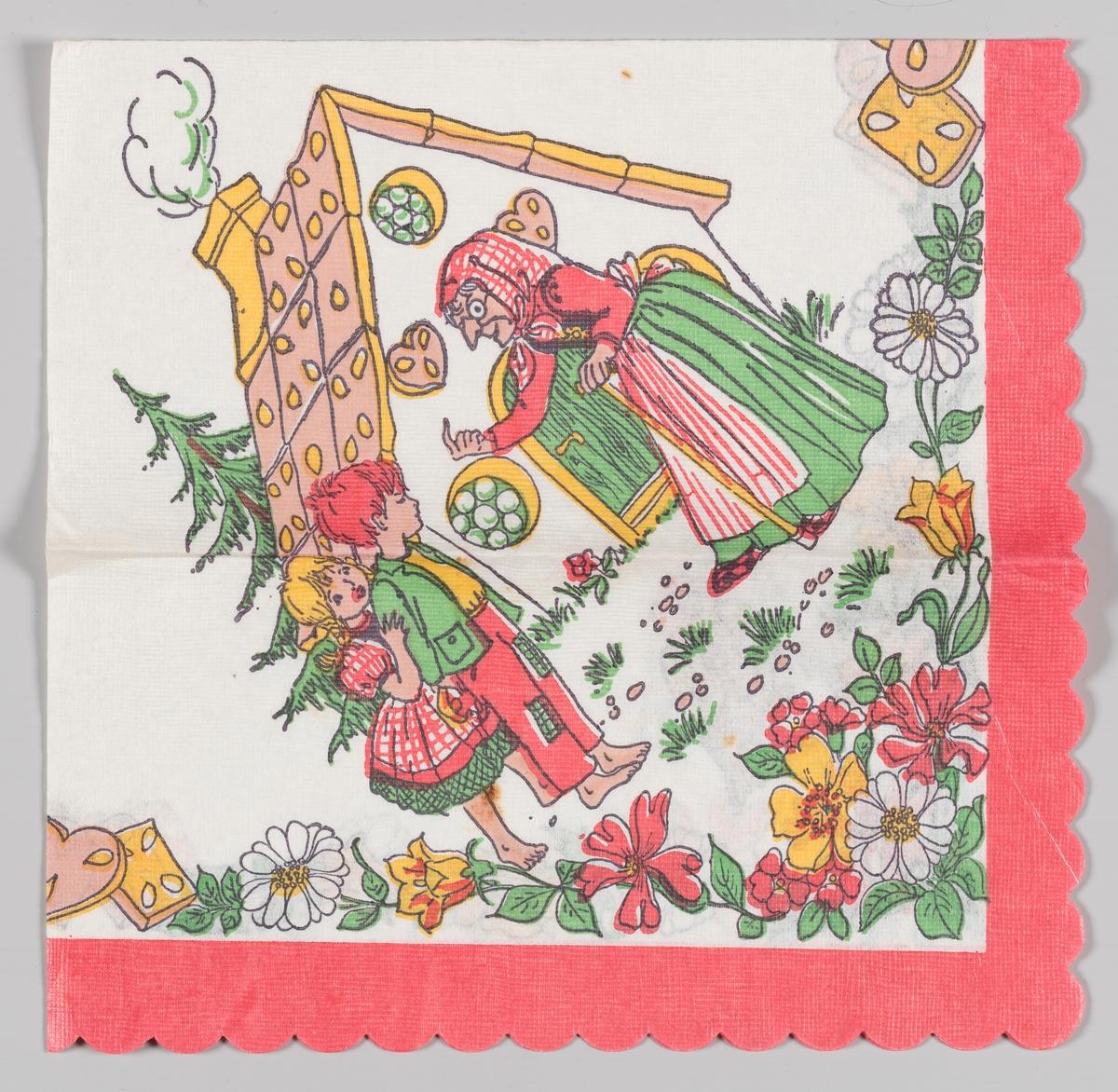 Hans og Grete. Heksen lokker Hans og Grete inn i pannekakehuset. Rød kant og blomster.