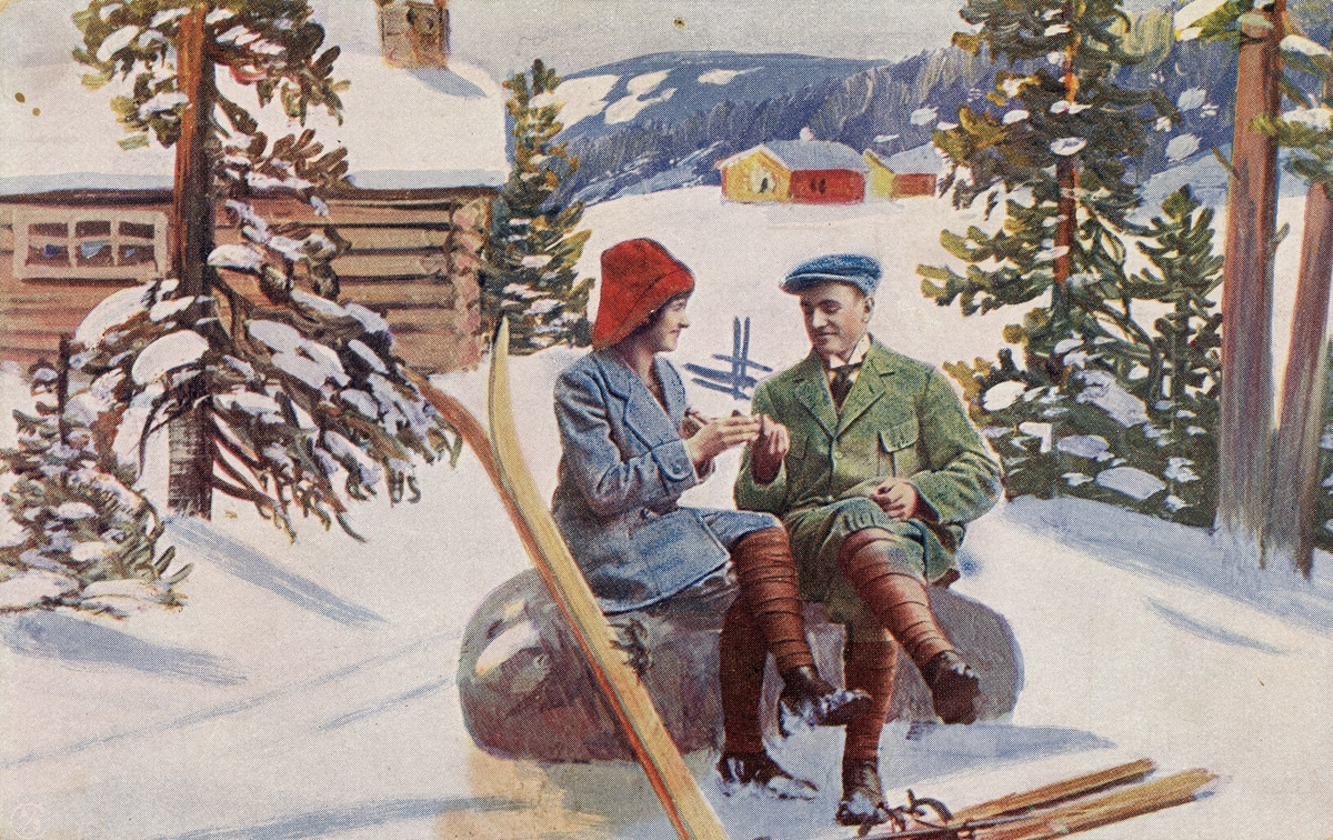Postkort. Motivet på kortets fremside viser mann og kvinne under en rast på skitur i vinterlandskap.