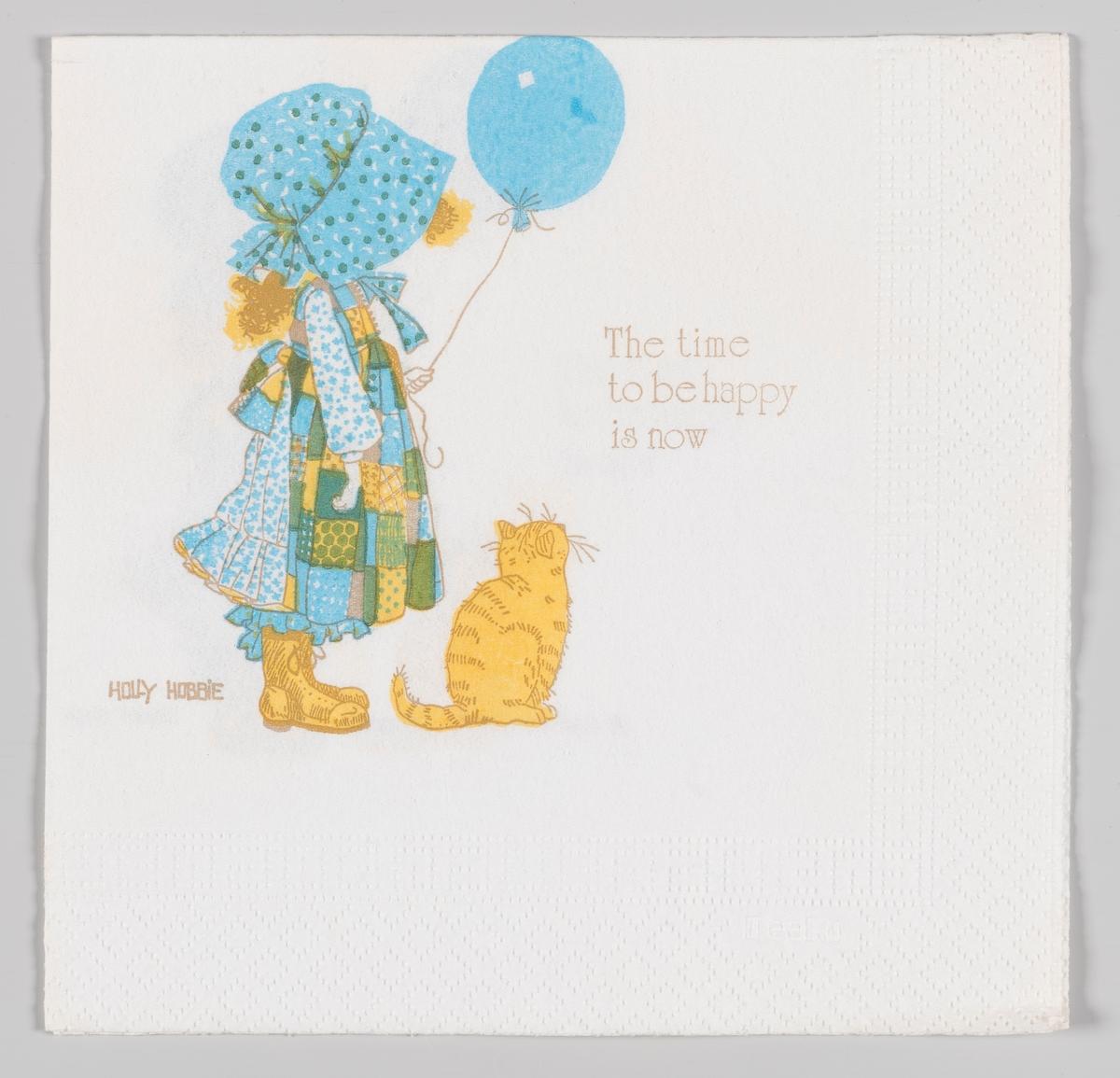 En jente med en stor kyse som dekker ansiktet. Jenta er i kjole med forkle og holder en blå ballong. En gul katt sitter ved siden av jenta.