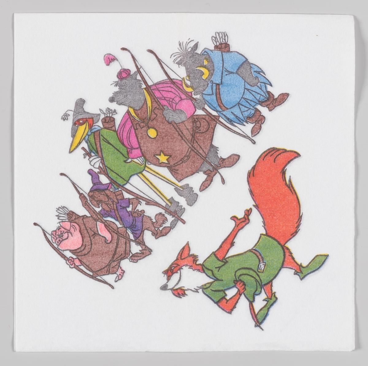 Robin Hood hilsen mens en gjeng med bueskyttere står bak ham  Walt Disney animasjonfilm Robin Hood kom i 1973.
