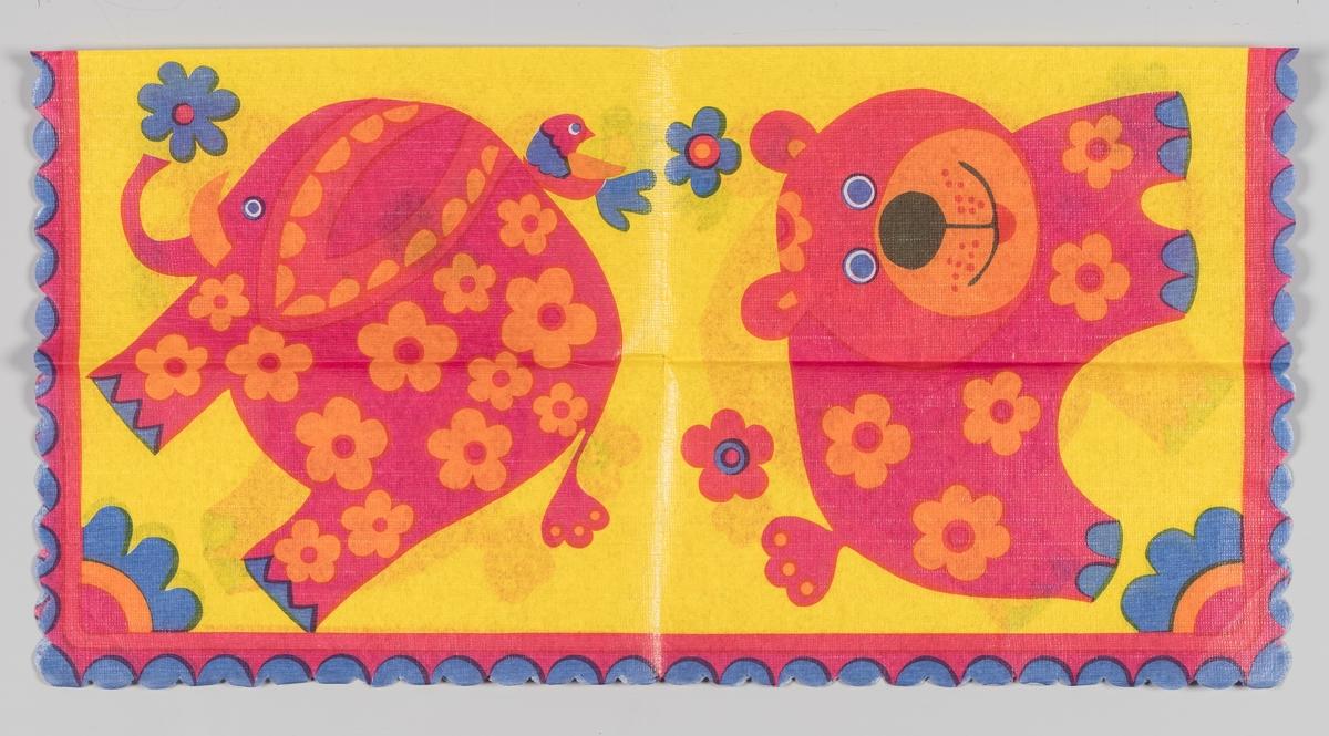 En elefant og en bjørn. Begge er røde med oransje blomster.