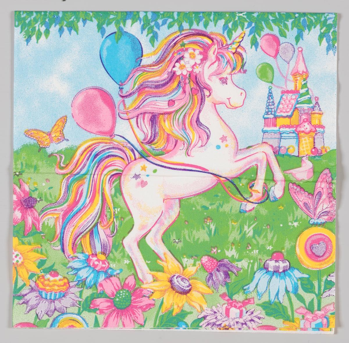 My Little Pony med ballonger og et eventyrslott blant mange blomster.  My Little Pony er en merkevare med fargerike ponnifigurer i plast som kom i salg i begynnelsen av 1980-tallet.