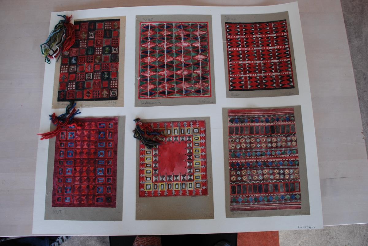 Förslag till mattor i rölakan komponerade av Anna Hådell. Med garnprover.