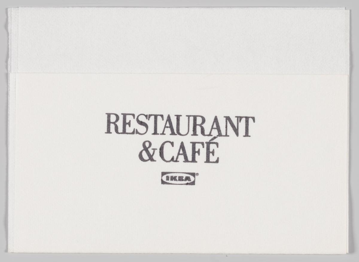 Logo og reklametekst for Ikea restaurant & cafè.  Samme reklame på serviett MIA.00007-004-0052.