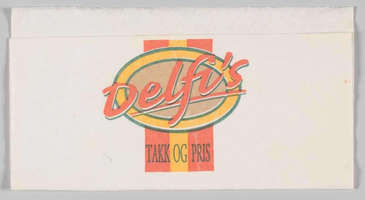 Et ovalt skilt med reklametekst for Delfi`s (ukjent produktnavn).