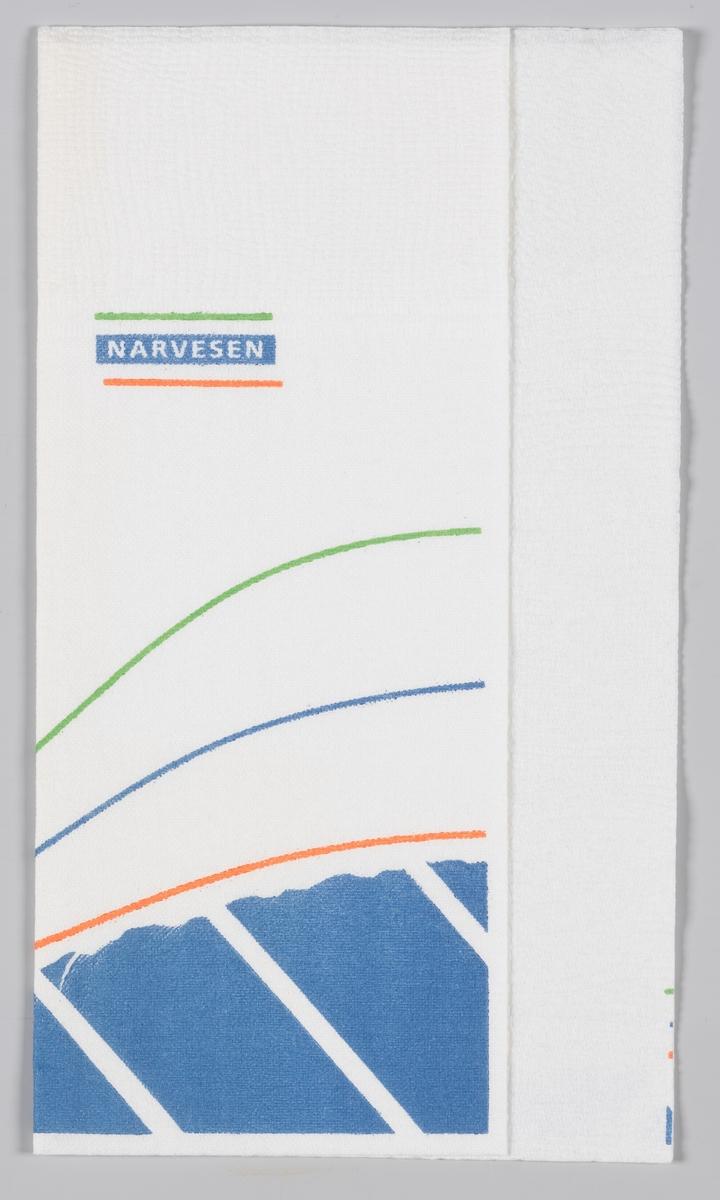 Et bølget mønster og reklametekt for Narvesen kiosk.   Narvesen ble etablert i 1894 av Johan Bertrand Narvesen og har vært en viktig servicebedrift i mer enn 100 år. Kjeden er i dag eid av Reitan Convenience, et av de fire forretningsområdene i Reitangruppen. 370 Narvesenkiosker finnes i Norge,  Samme reklame på MIA.00007-004-0179; MIA.00007-004-0180.