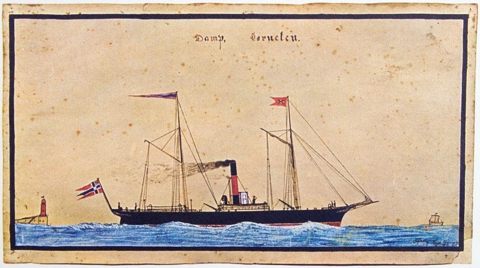 Kopi av akvarell av DS HORNELEN  bygget i Newcastle i 1866. Skipet sees under fart..  Norsk handelsflagg med svensk-norsk unionsmerke (sildesalaten) i akter. Ser et fyrtårn i venstre side av motiv.