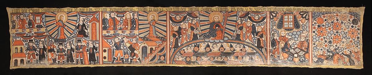 Fem olika motiv avdelade från varandra med vertikala linjer: Nattvarden, Bröllopskläderna, Yttersta domen med Jesus, Gårdsfogden Lüc och en grupp liggande män som tittar upp mot sol, måne och stjärnor/blommor.
