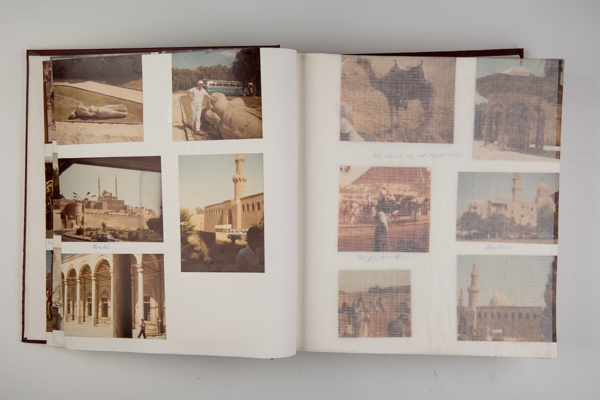 Album med fotografier fra cruiseturer med 'Sagafjord' og 'North Star', med stopp i forskjellige land rundt Middelhavet og i Midtøsten. Inneholder også noen få fotografier fra Hong Kong.