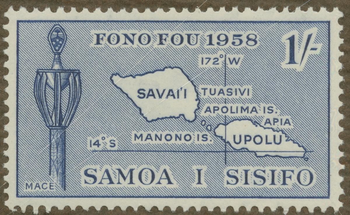 Frimärke ur Gösta Bodmans filatelistiska motivsamling, påbörjad 1950. Frimärke från Samoa, 1958. Motiv av karta över Samoaöarna i Oceanien.