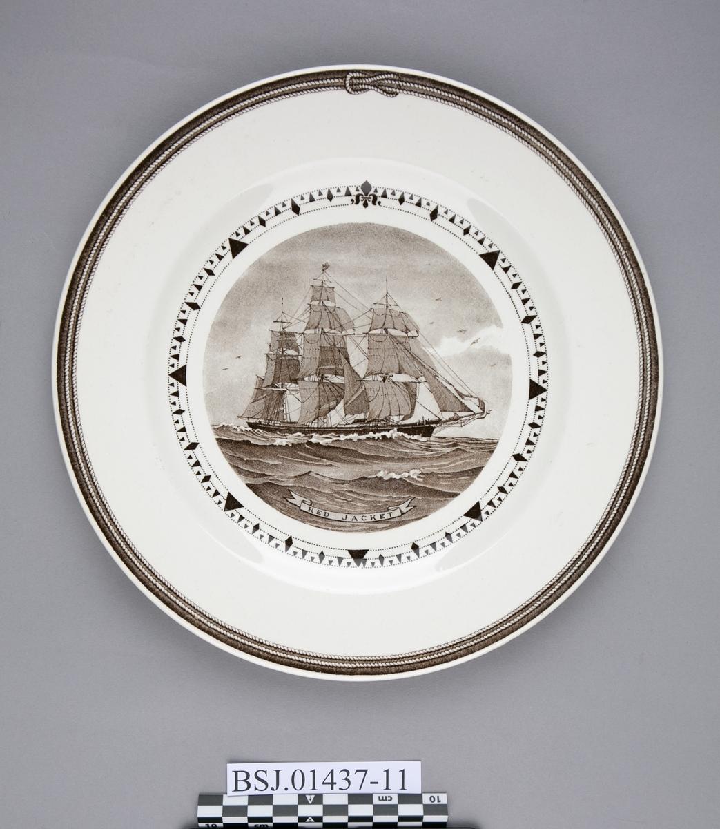 Tallerken med motiv av RED JACKET, amerikansk klipper skip