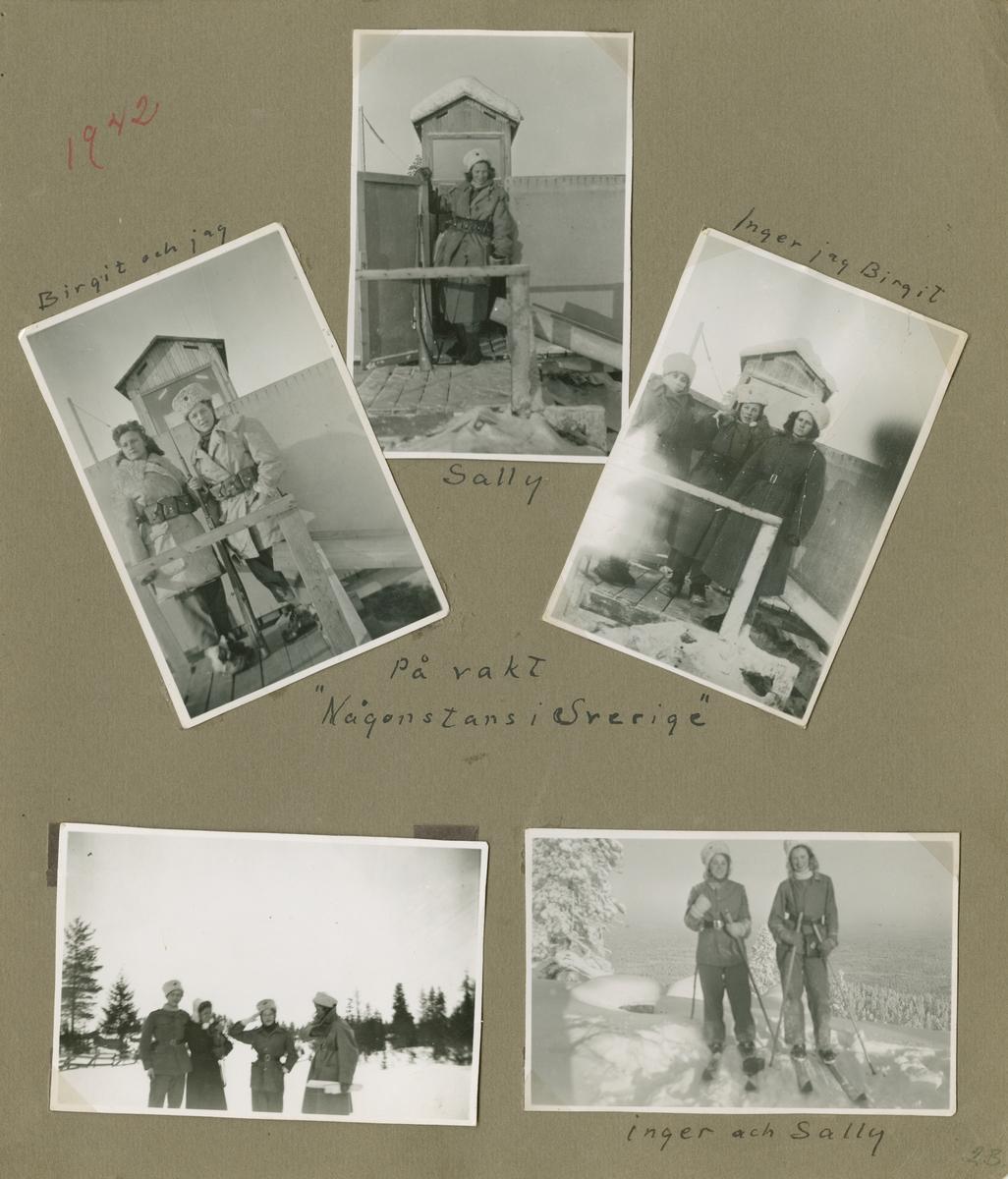 Minnen från luftbevakning i Tellejåkk under beredskapen, 1942. Fotoalbum om fem blad och tio sidor.  Foton av miljöer, förläggning, luftbevakningstorn, personer, luftbevakerskor i uniform, landskap, aktiviteter, renar och samer.