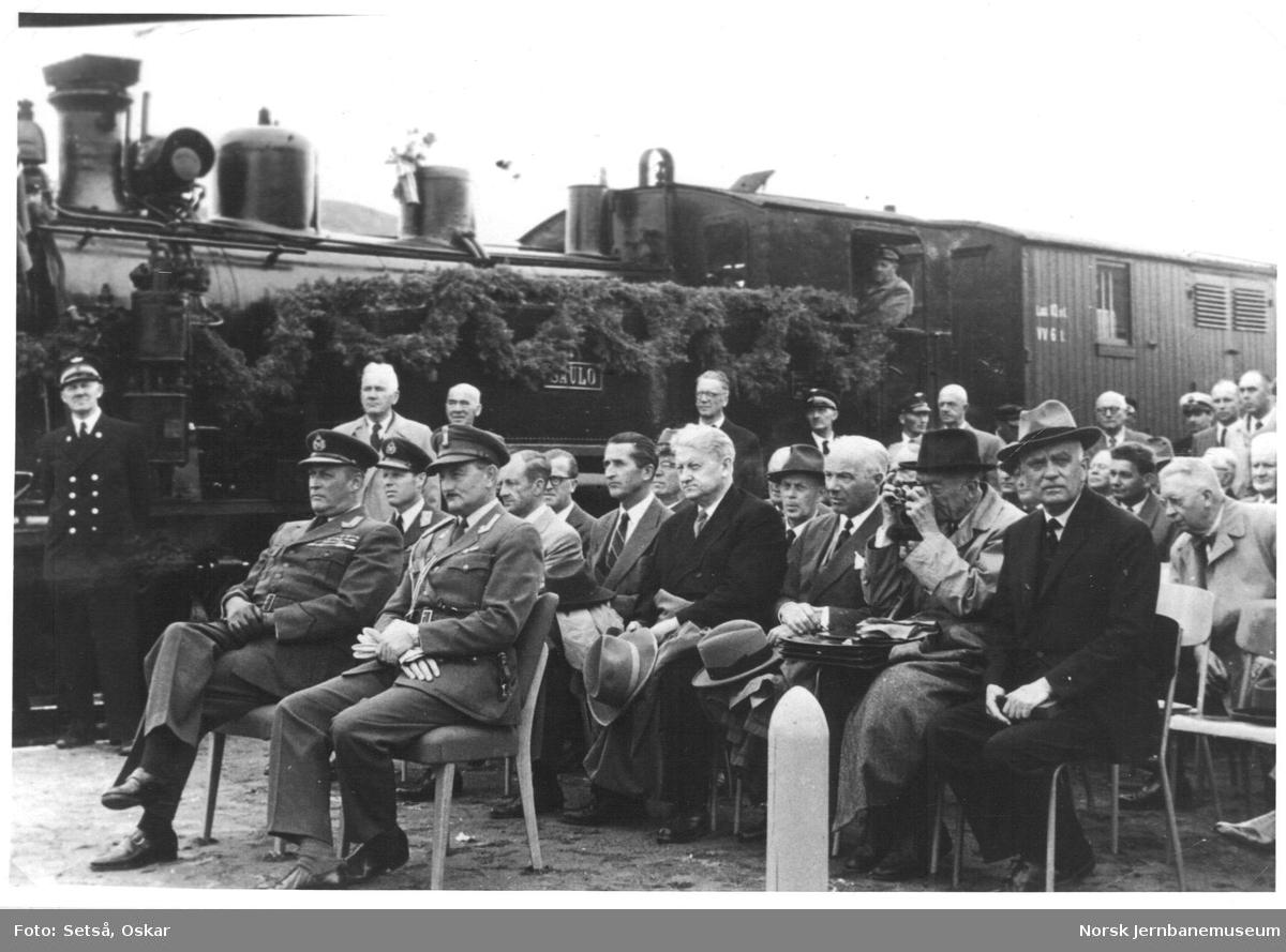 Høytidelig åpning av Sulitjelmabanen mellom Finneid - Ågifjellet på Finneid stasjon