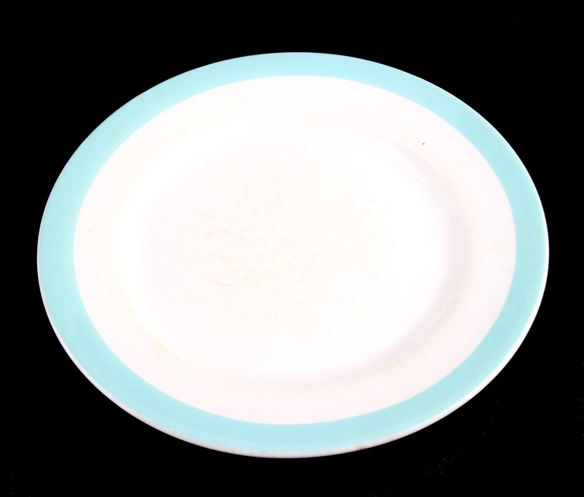 6 tallerkener med turkis bord langs randen - 2 suppetallerkener og 4 middagstallerkener.