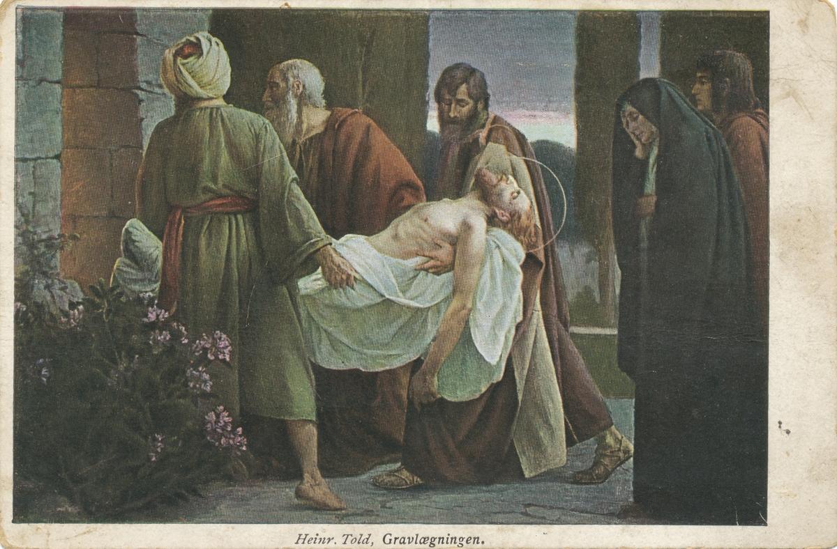 Postkortmotiv av et maleri av Jesus si gravlegging.