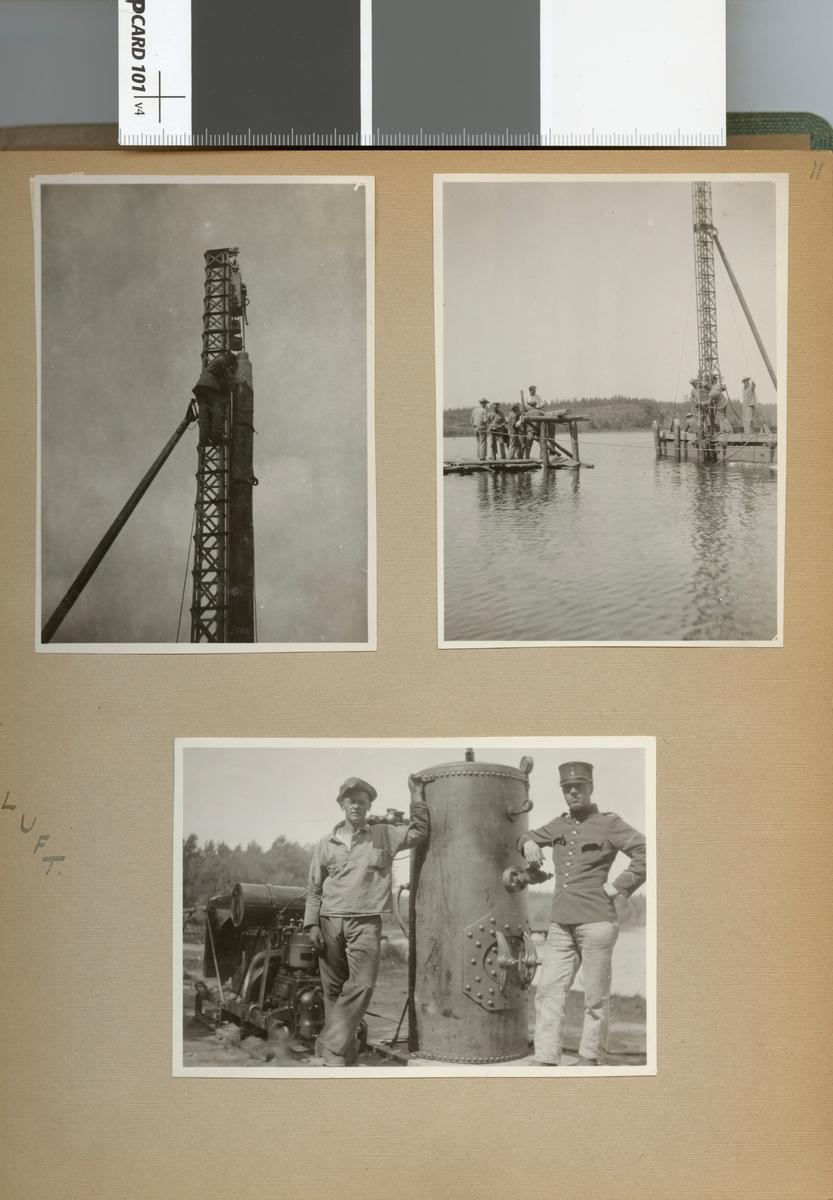 "Text i fotoalbum: ""Sommaren 1929. Fältbro vid Bjälmen."""