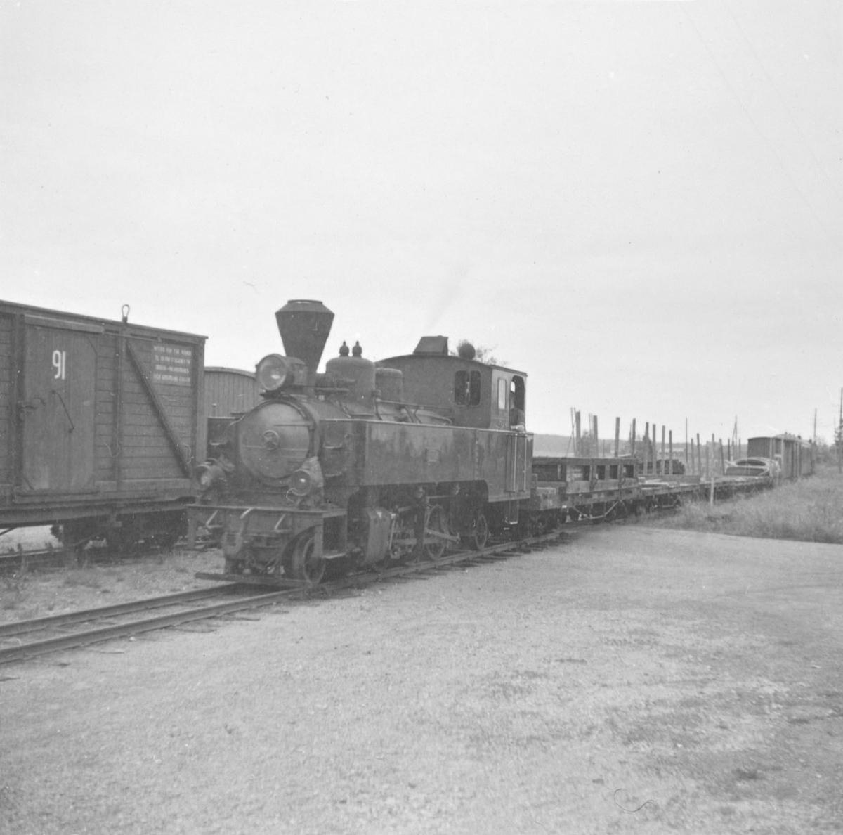 Damplokomotiv XXIXb nr. 7 PRYDZ med blandet tog fra Sørumsand til Skulerud, tog 2051, på Mork stasjon