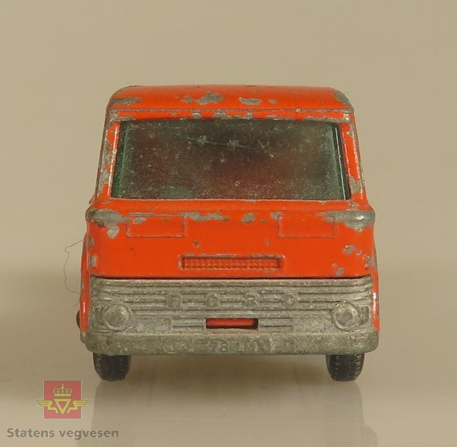 Primært oransje modell-lastebil laget av metall. Skala: 1:64