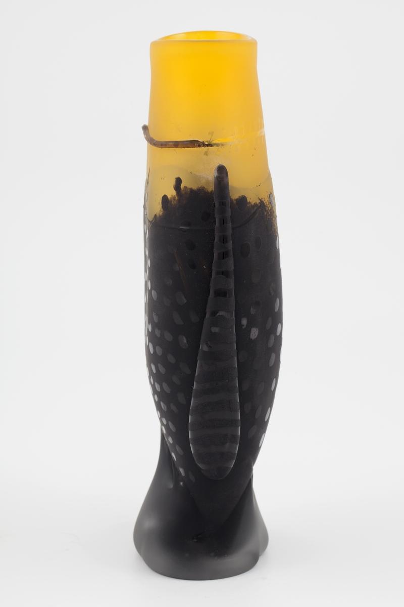 Vase i underfangsglass, hvis form alluderer til en gapende fisk, dekorert med påklipp. Munningen samt øvre del av korpus er utført i halvgjennomskinnelig gulfarget glass, som gradvis glir over i sort opakt glass. Den matte overflaten er oppnådd med sliping og sandblåsing. Den kontrasteres med en rekke glinsende sirkler på midten av korpus. Vasen hviler på en fot i halvgjennomskinnelig gråtonet glass.